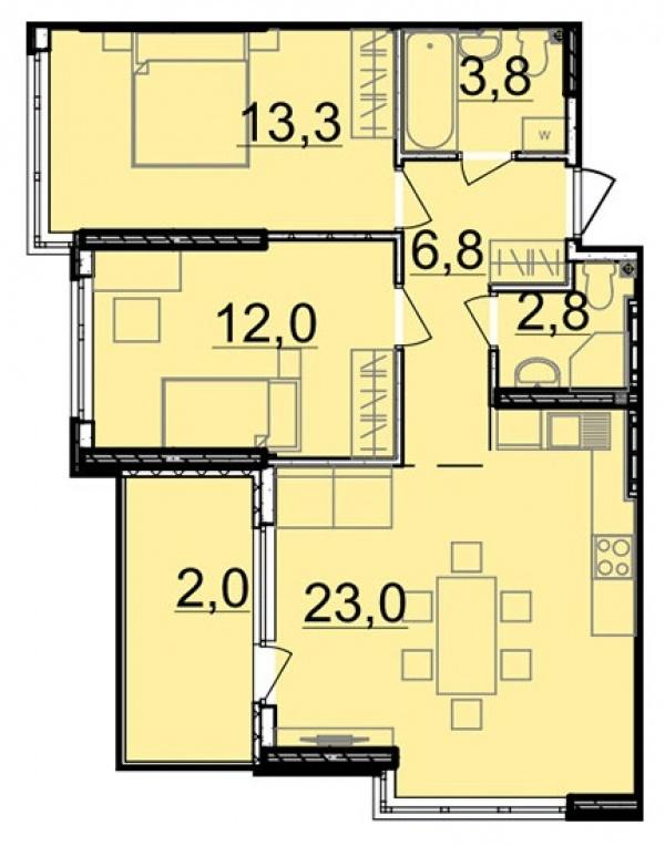 Планировки двухкомнатных квартир 63.7 м^2